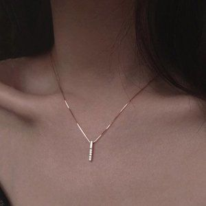 Gold Diamond Strip 925 Sterling Silver Necklace